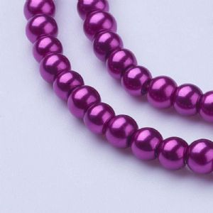 Glass Pearl Beads Magenta 4mm